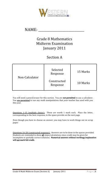 grade 8 math exam pdf