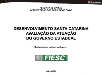 Avaliação da Atuação do Governo Estadual - Fiesc