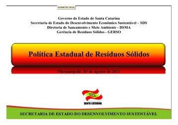 Política Estadual de Resíduos Sólidos - Fiesc