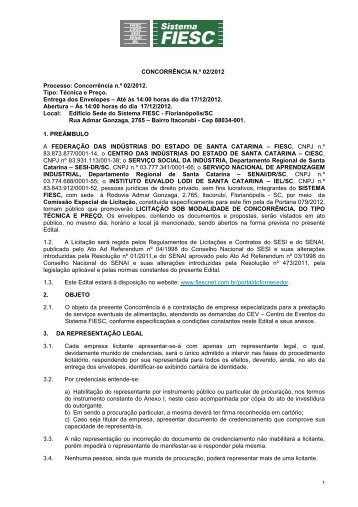 CONCORRÊNCIA N.º 02/2012 Processo: Concorrência n.º ... - Fiesc