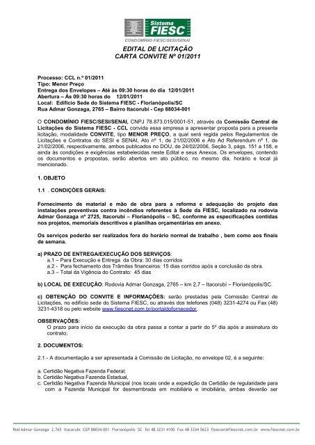EDITAL DE LICITAÇÃO CARTA CONVITE Nº 01/2011 - Fiesc