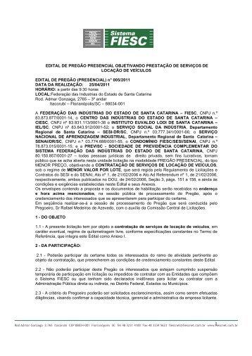 EDITAL DE PREGÃO PRESENCIAL OBJETIVANDO ... - Fiesc