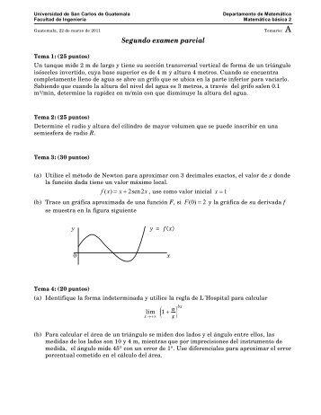 Segundo examen parcial - Departamento de Matemática
