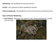 Weathering - the breakdown of rock and minerals. Erosion - the ...