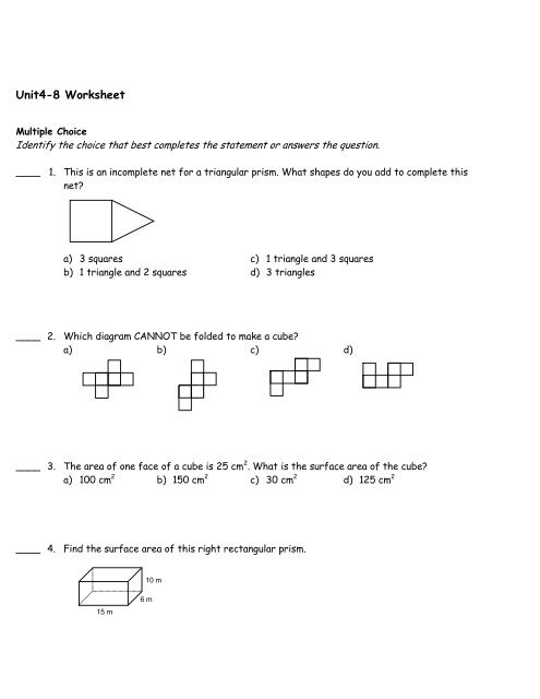 multiple choice questions on surface area