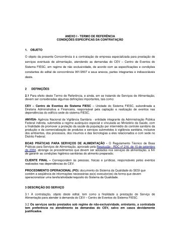 ANEXO I - TERMO DE REFERÊNCIA CONDIÇÕES ... - Fiesc