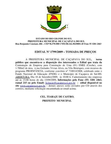 edital nº 1799/2009 - Prefeitura Municipal de Caçapava do Sul