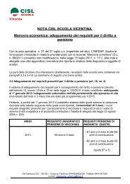 nuovi requisiti pensioni - Cisl Vicenza