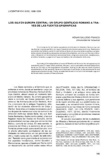 LOS IULII EN EUROPA CENTRAL: UN GRUPO GENTILICIO - RUA