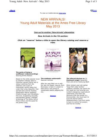 NEW ARRIVALS! Young Adult Materials at the Ames Free Library ...