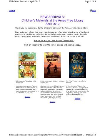 NEW ARRIVALS! Children's Materials at the Ames Free Library April ...