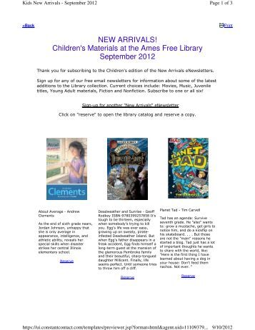 NEW ARRIVALS! Children's Materials at the Ames Free Library ...