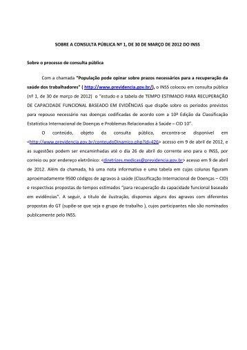 (PARECER SOBRE CONSULTA PÚBLICA 01 2012 ... - Renast Online