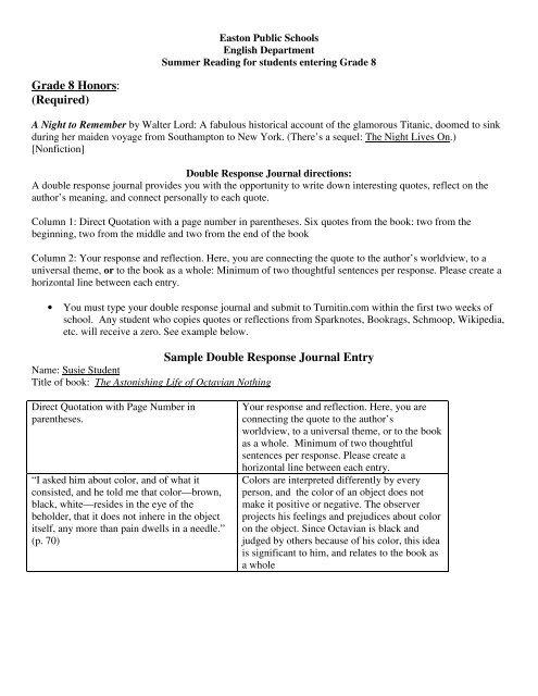 English Dept  List entering Grade 8 - Ames Free Library
