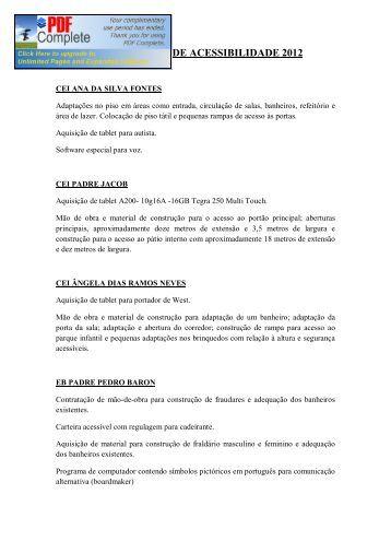 PLANOS DE AÇÃO - PDDE ACESSIBILIDADE 2012
