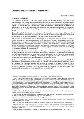 Discurso de asunción - Dr. Fernando Tauber - Universidad Nacional ...