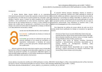 Acceso Abierto a la producción científica de la UNLP publicada en ...