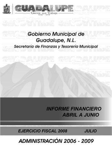 INFORME FINANCIERO ABRIL-JUNIO 2008 - Guadalupe