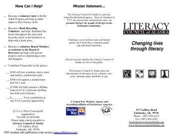 Agency Brochure revised Feb. 26, 2008 - Literacy Council of Alaska