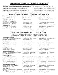a printable list of May sale yarns.