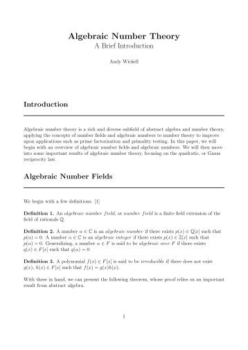 Algebraic Number Theory: A Brief Introduction