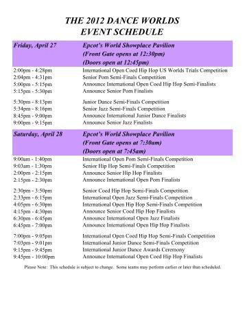 2012 Dance Worlds Schedule