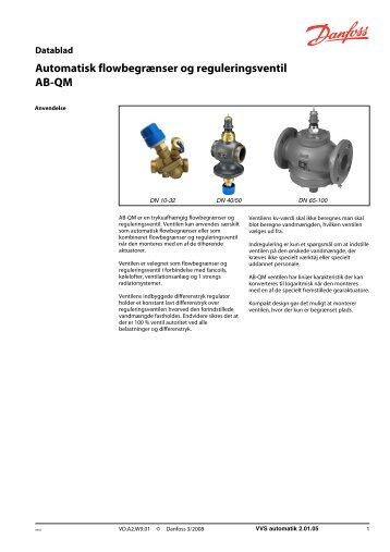 Automatisk flowbegrænser og reguleringsventil AB ... - Danfoss Varme