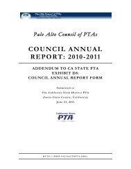 COUNCIL ANNUAL REPORT: 2010-2011 - Palo Alto Council of PTAs