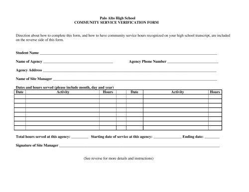 Community service verification form - Palo Alto High School