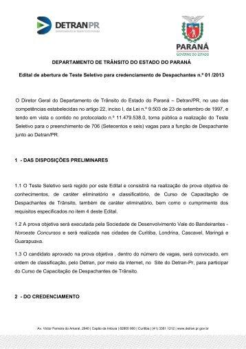 DEPARTAMENTO DE TRÂNSITO DO ESTADO DO PARANÁ - Detran