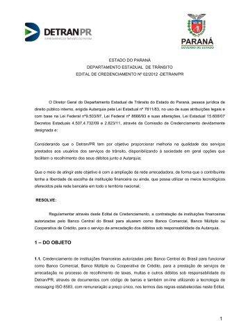 Edital de Credenciamento nº 02/2012 - Detran
