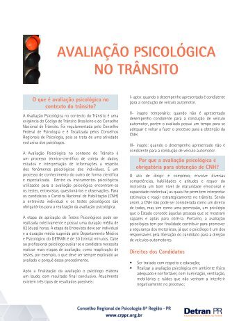 Avaliação Psicológica no Contexto do Trânsito - Detran