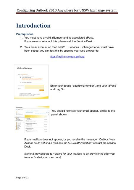 Download Outlook Anywhere for Exchange Guide - UNSW IT