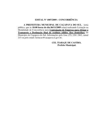 EDITAL Nº 1807/2009 - Prefeitura Municipal de Caçapava do Sul