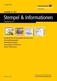 Ausgabe 16 - 2012 | 03. August 2012 - Deutsche Post - Philatelie