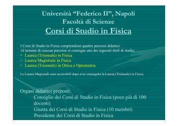 Presentazione dei Corsi di Laurea in Fisica (versione 2011/2012)