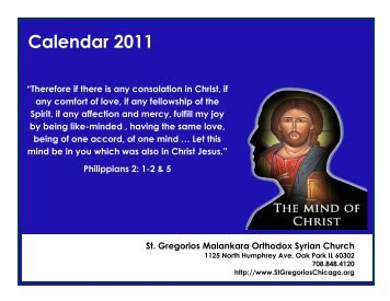 Calendar 2011 - St Gregorios Church, Elmhurst