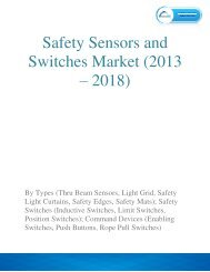 Safety Sensors and Switches Market is expected to reach $7.85 billion by 2018, growing at a CAGR of 4.2%