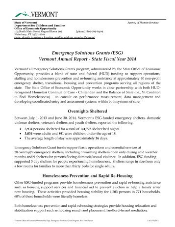 Emergency Shelter Grants Annual Report - Department for Children ...