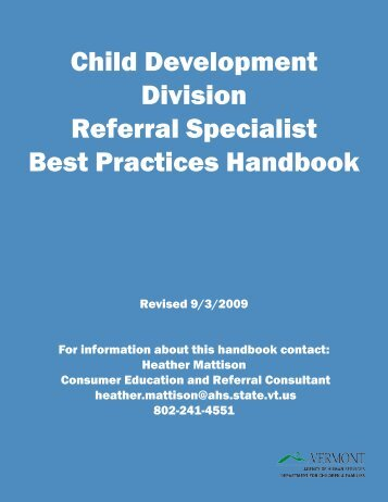 Child Development Division Referral Specialist Best Practices ...
