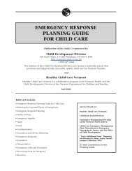 emergency response planning guide for child care - Department for ...