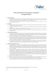 Terms and conditions of sale, delivery, and payment of August Faller ...