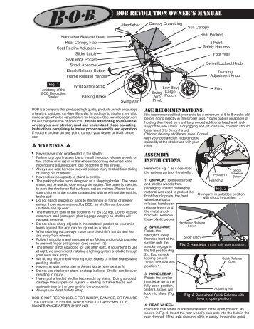 infant car seat adapter instructions bob trailers and strollers rh yumpu com Bob Revolution Stroller 2010 Bob Revolution Jogging Stroller