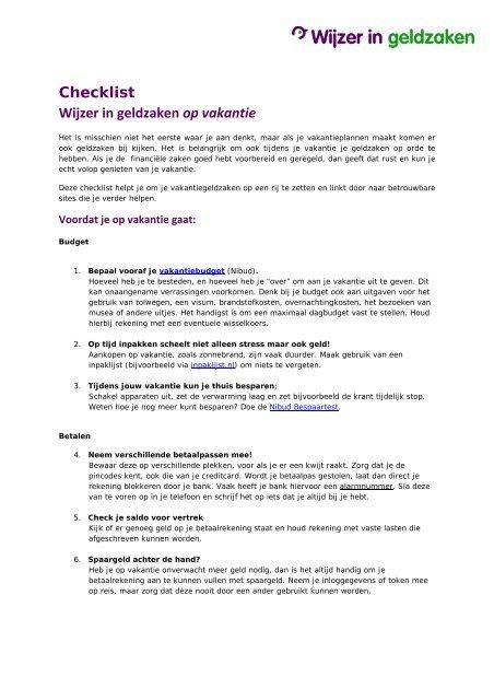 3d894e3e105 Checklist Wijzer in geldzaken op vakantie