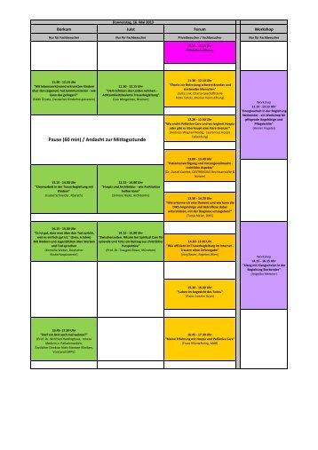 Vortragsprogramm der Messe Leben und Tod 2013