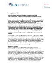 Persbericht Green Deal 3 oktober 2011 - Energie-Nederland