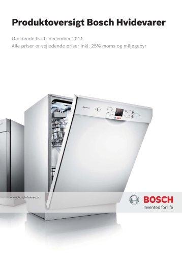 Produktoversigt Bosch Hvidevarer
