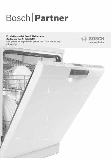 Produktoversigt Bosch Hvidevarer maj 2010 Alle priser er ...