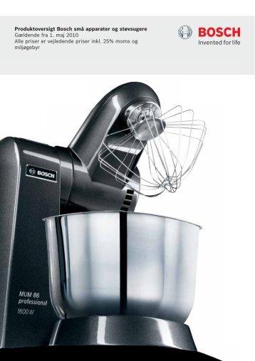 Produktoversigt Bosch små apparater og støvsugere Gældende fra ...