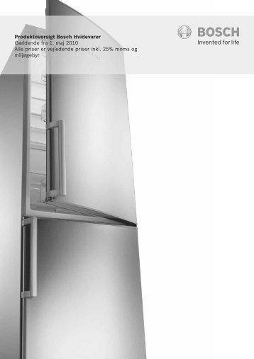 Produktoversigt Bosch Hvidevarer Gældende fra 1. maj 2010 Alle ...